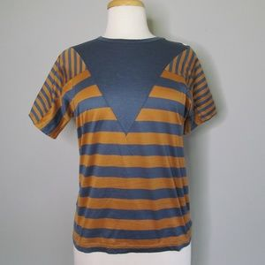 Salvatore Ferragamo Striped Gray / Orange T-Shirt